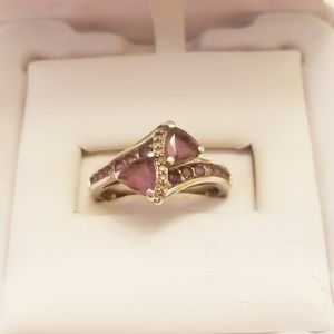 Amethyst and white diamond silver ring